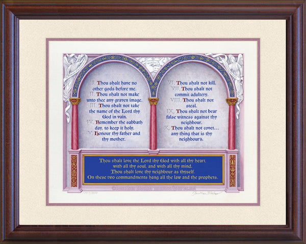 "The Great Commandments Exodus 20:1-17, Matthew 22:37-40, KJV, Mahogany Frame & Sand Mat 16"" x 20"""