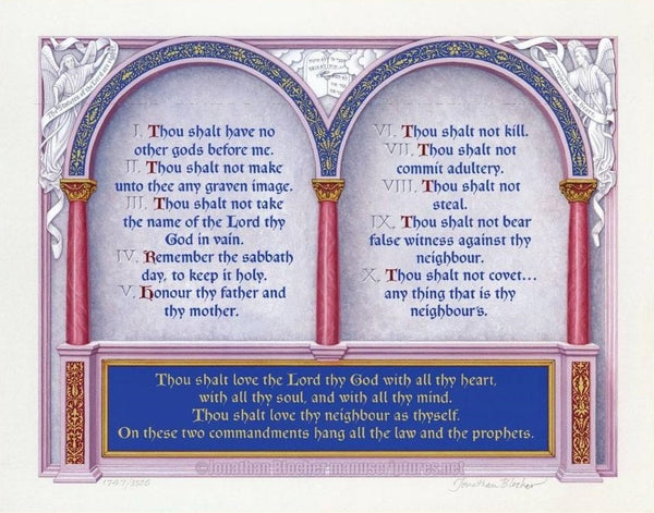 "The Great Commandments Exodus 20:1-17, Matthew 22:37-40, KJV, Print Only 11"" x 14"""