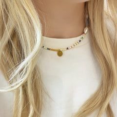 Beaded Choker Necklace with Pearls