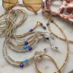 Silver and Gold Evil Eye Sunglasses and Mask Chains
