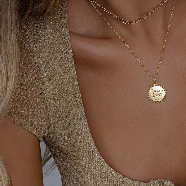 Gold Reversible Disc Necklace
