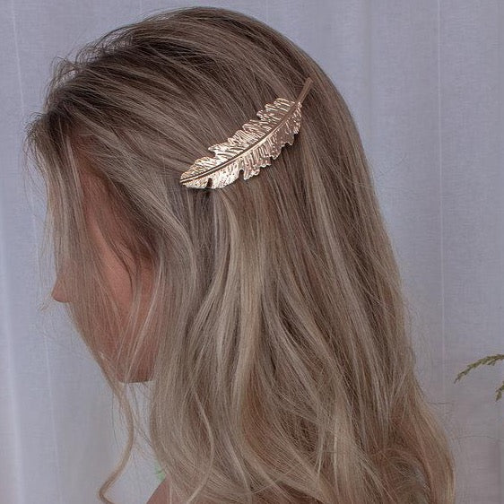 Gold Feather Hair Slide