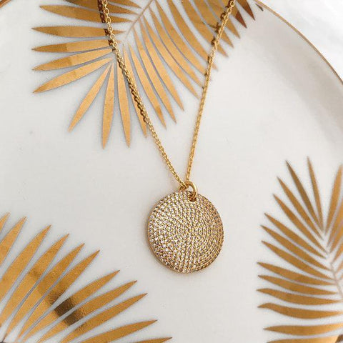 Embellished Disc Necklace