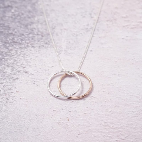 Silver and Rose Gold Eternity Ring Necklace