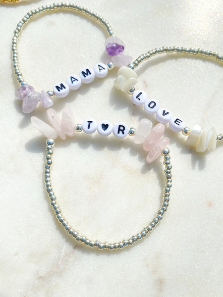 Mother of Pearl 'Little Gem' Personalised Bracelet