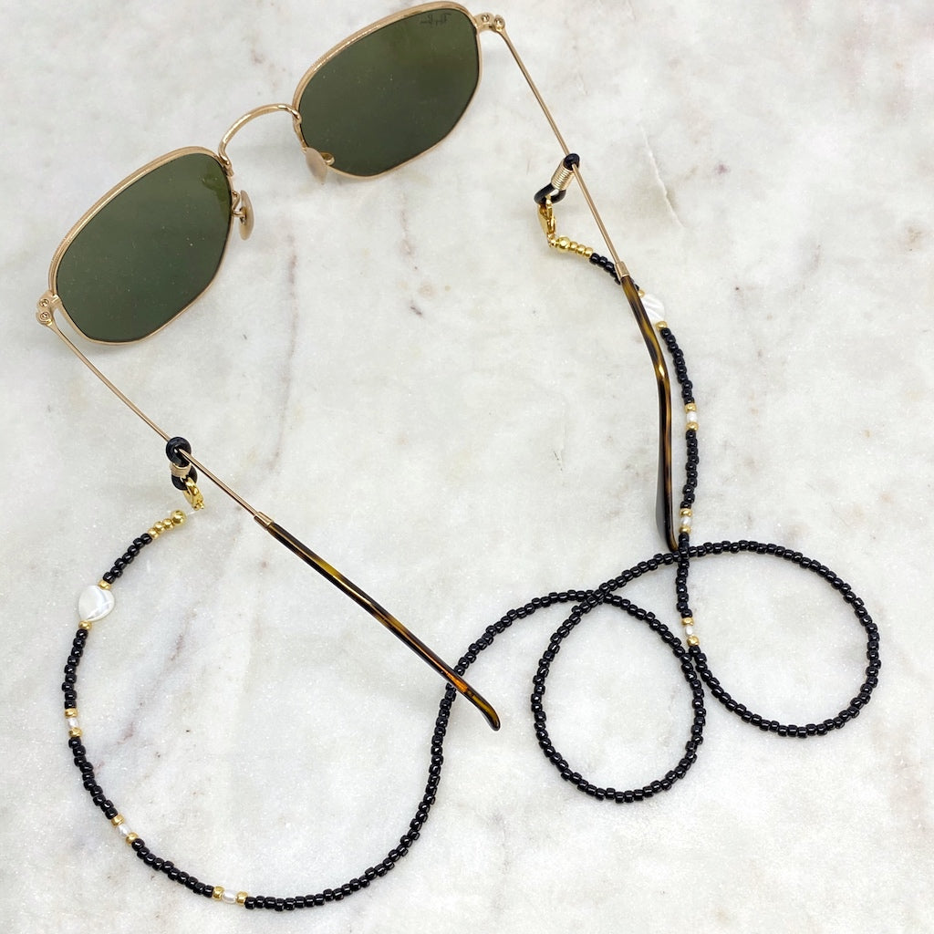 Monochrome Convertible Sunglasses and Face Mask Chain