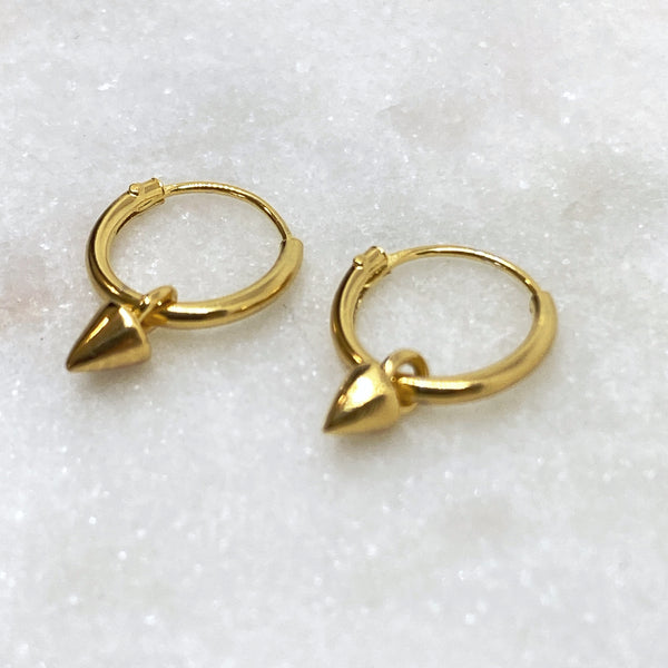 Gold Tiny Spike Huggie Hoop Earrings