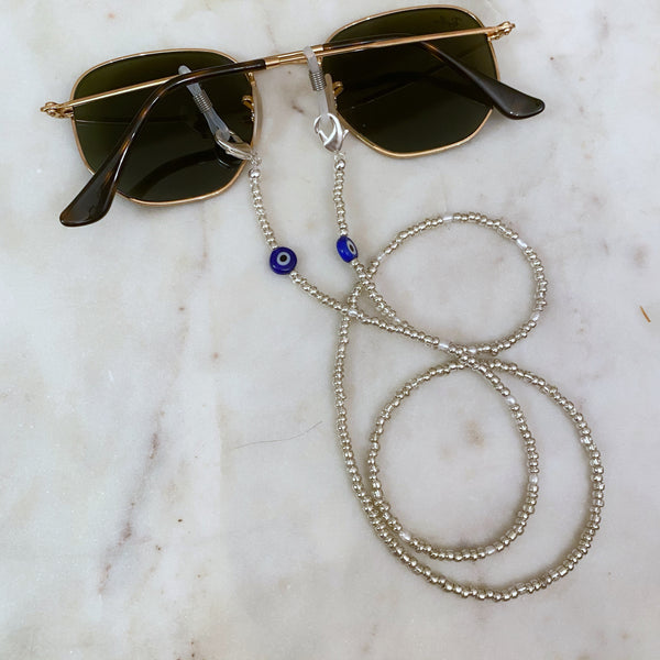 Silver Evil Eye Face Mask and Sunglasses Chain