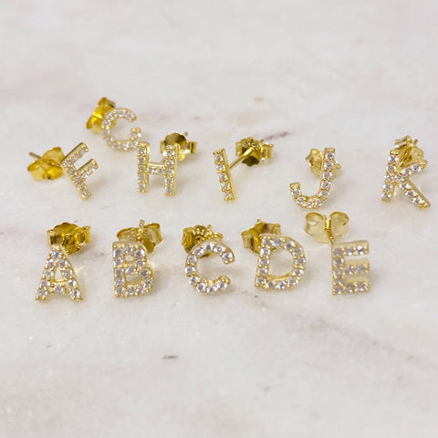 Gold Sparkly Initial Stud Earrings