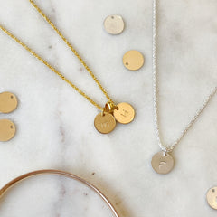 Personalised Gold or Silver Initial Disc Necklace
