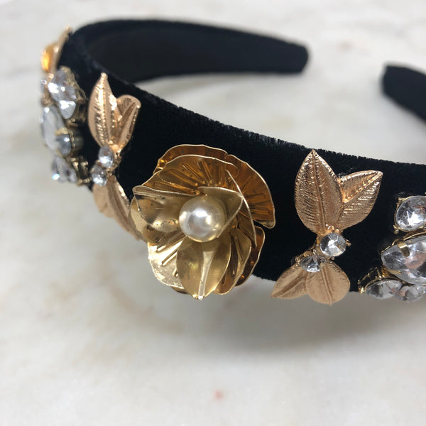 Black and Gold Embellished Headband