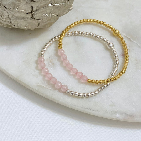 Rose Quartz 'With Love' Bracelet