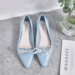 Women All Seasons Chic Pointy Bow TPU Flats Jelly Shoes Ballet Shoes