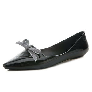 Women All Seasons Chic Pointy Bow TPU Flats Jelly Shoes Ballet Shoes    222
