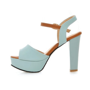 Women Large Size Fashion Soft Leather Sandals High Heel Shoes