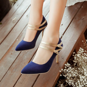 Women Large Size Wedding Sexy Slimmer Double Laces High Heel Shoes