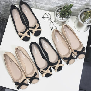 Women Low-cut Uppers Square-toe Chic Bow Flats PVC Jelly Shoes     222