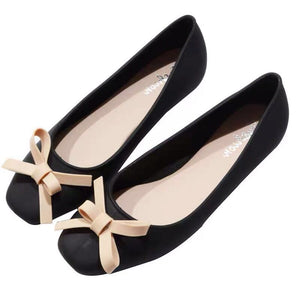 Women Low-cut Uppers Square-toe Chic Bow Flats PVC Jelly Shoes