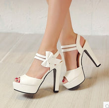 Load image into Gallery viewer, Summer Fish Mouth Bow Sexy High Heeled Shoes