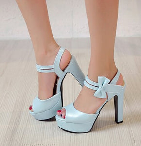 Summer Fish Mouth Bow Sexy High Heeled Shoes