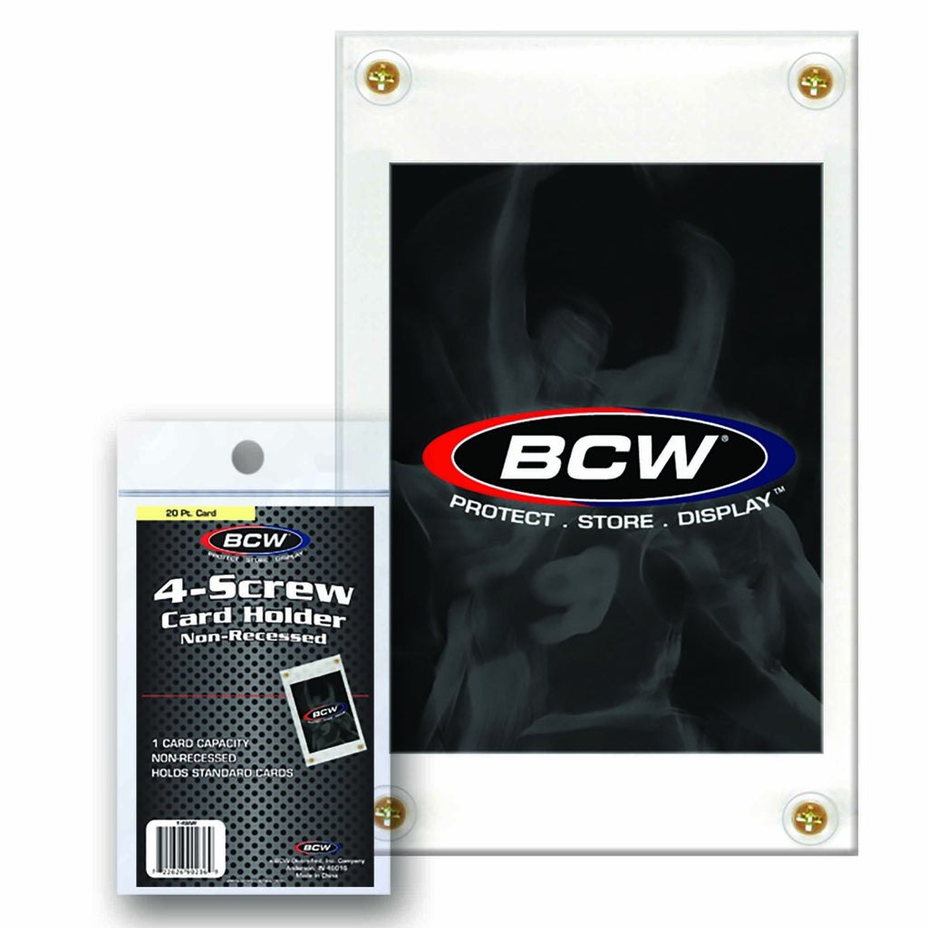 BCW 4-Screw Card Holder Nonrecessed -Standard Card 20Pt - Trading Card Sleeves & Screwdowns - Hobby Master - hobbymasterstore