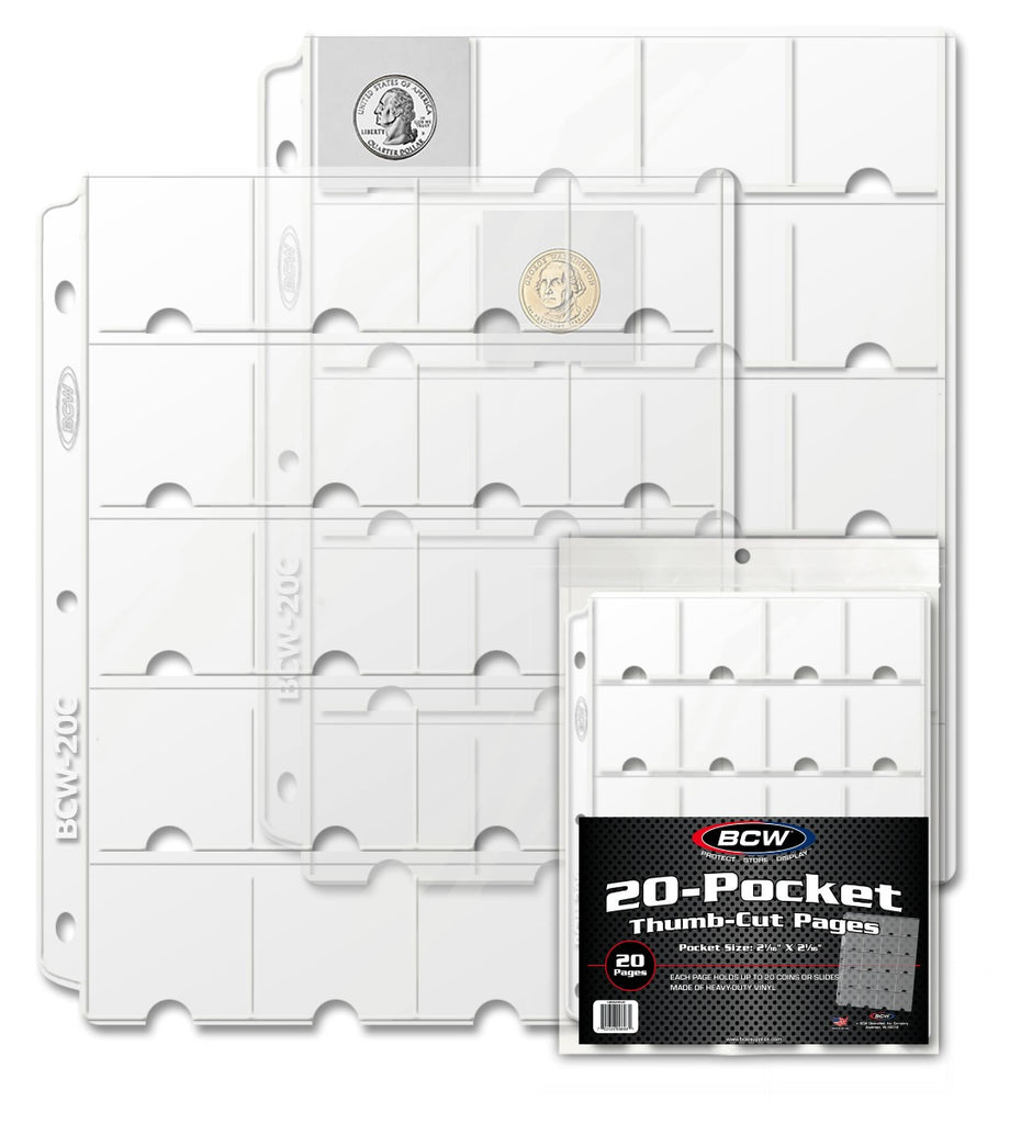 20-Pocket Vinyl Pages with Thumb Cut - Coin & Currency Pages - Hobby Master - hobbymasterstore