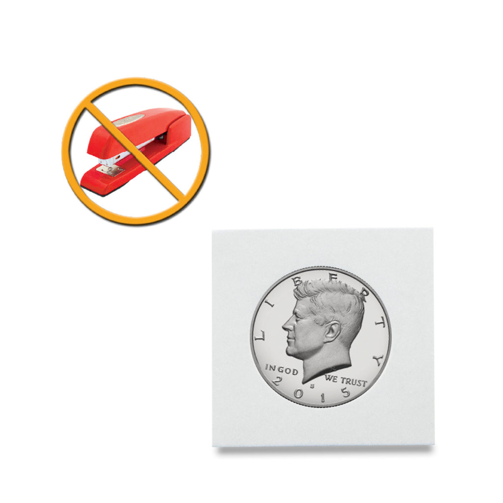 "BCW Peel-N-Seal Coin Flips 2"" x 2"" - Adhesive seal - No staples required - Coin Holders - hobbymasterstore - hobbymasterstore"