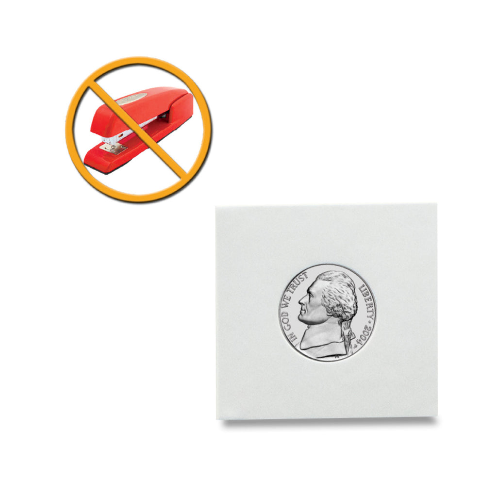 "Peel-N-Seal Coin Flips 2"" x 2"" - Adhesive seal - No staples required"