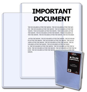 "8.5"" x 11"" Document Toploaders - Documents & Photos - Hobby Master - hobbymasterstore"