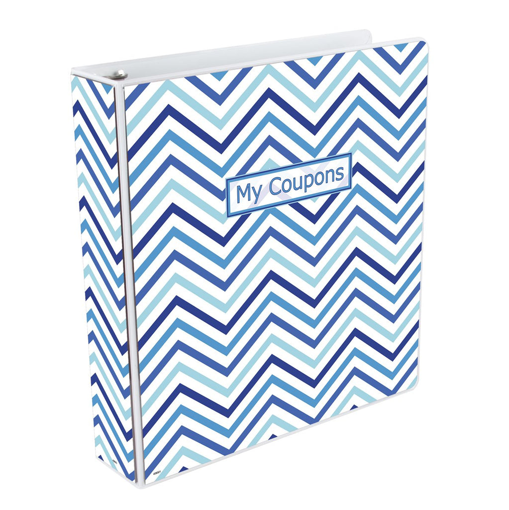 Coupon Organizer Binder - Chevron Blue