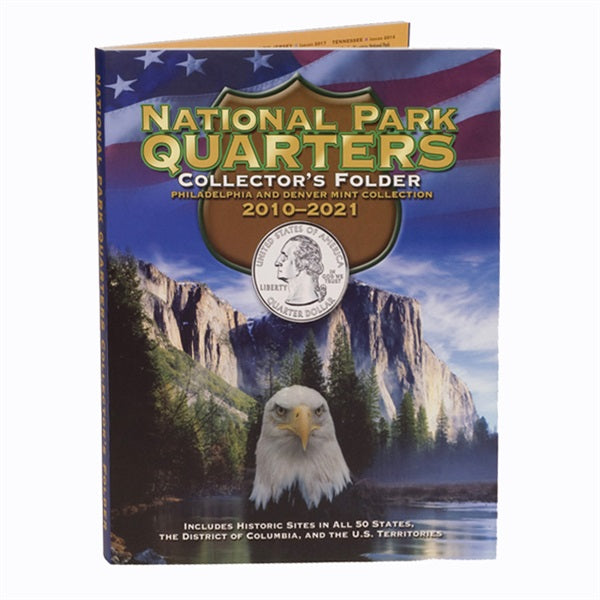 Whitman National Park Quarters Folder 2010-2021 P&D Mint Marks - State Quarters - hobbymasterstore - hobbymasterstore