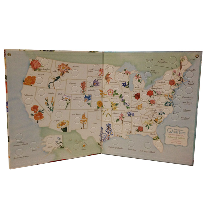 Whitman State Series Quarters 1999-2009 Collector Map - Botanical Edition - State Quarters - hobbymasterstore - hobbymasterstore