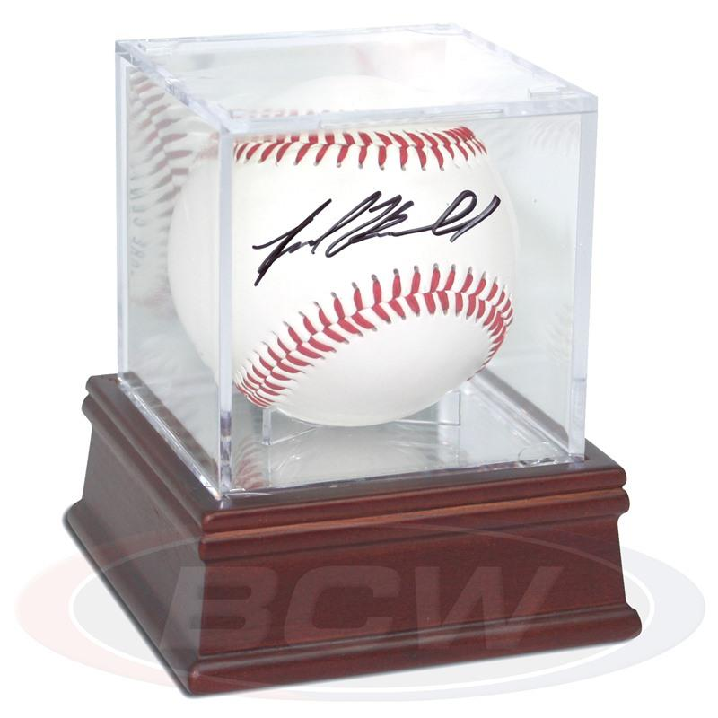 Ballqube Baseball Holder Mirrored Wood Base - Sports display cases - hobbymasterstore - hobbymasterstore