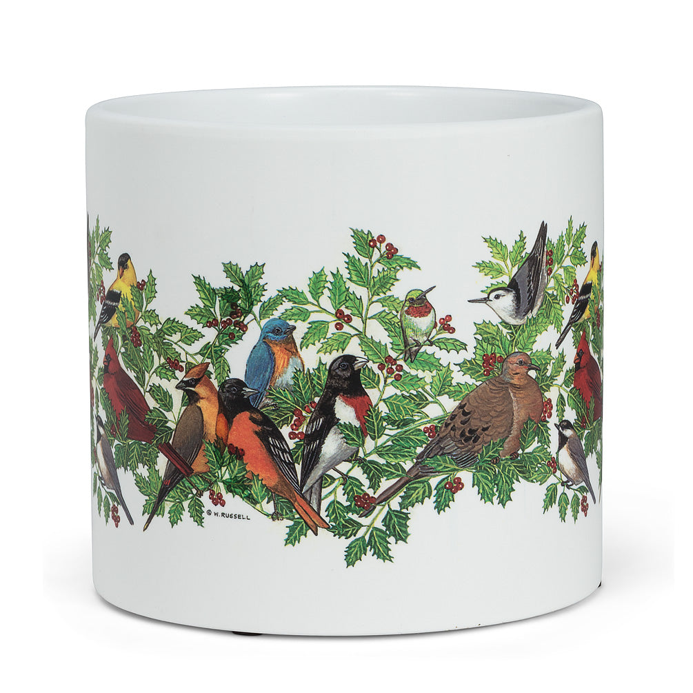 Birds in holly Planter