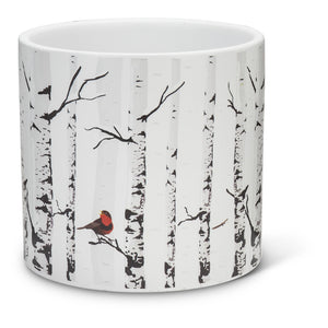 Small Birch with Bird Planter