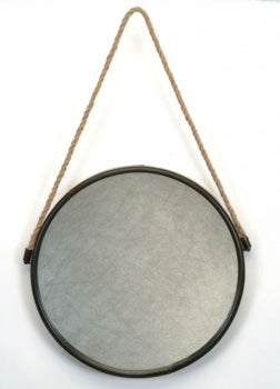 Metal Mirror With Rope  14""