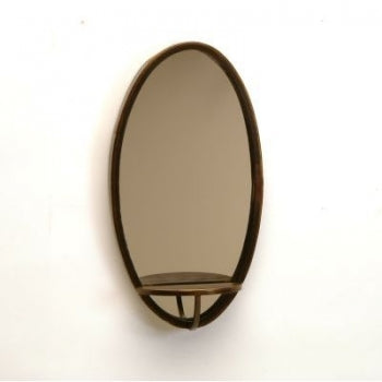 Oval Metal Mirror with Shelf