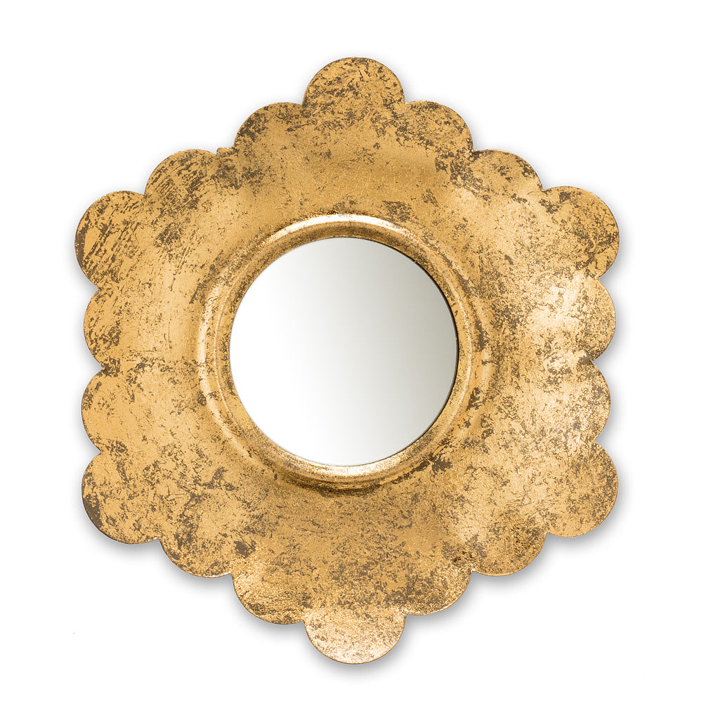Hand Finished, gold foiled Floral Mirror