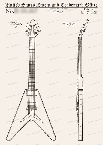 CARD-001: Flying V Guitar - Patent Press™