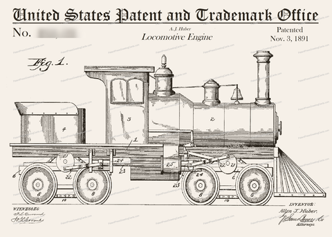 CARD-021: Locomotive (1891) - Patent Press™