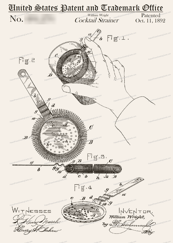 CARD-031: Cocktail Strainer - Patent Press™
