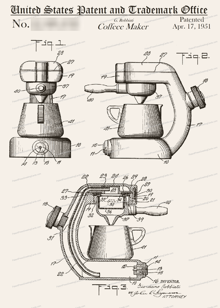 CARD-032: Coffee Maker (1951) - Patent Press™