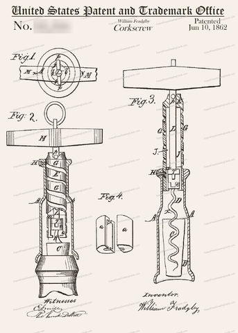CARD-034: Corkscrew (1862) - Patent Press™