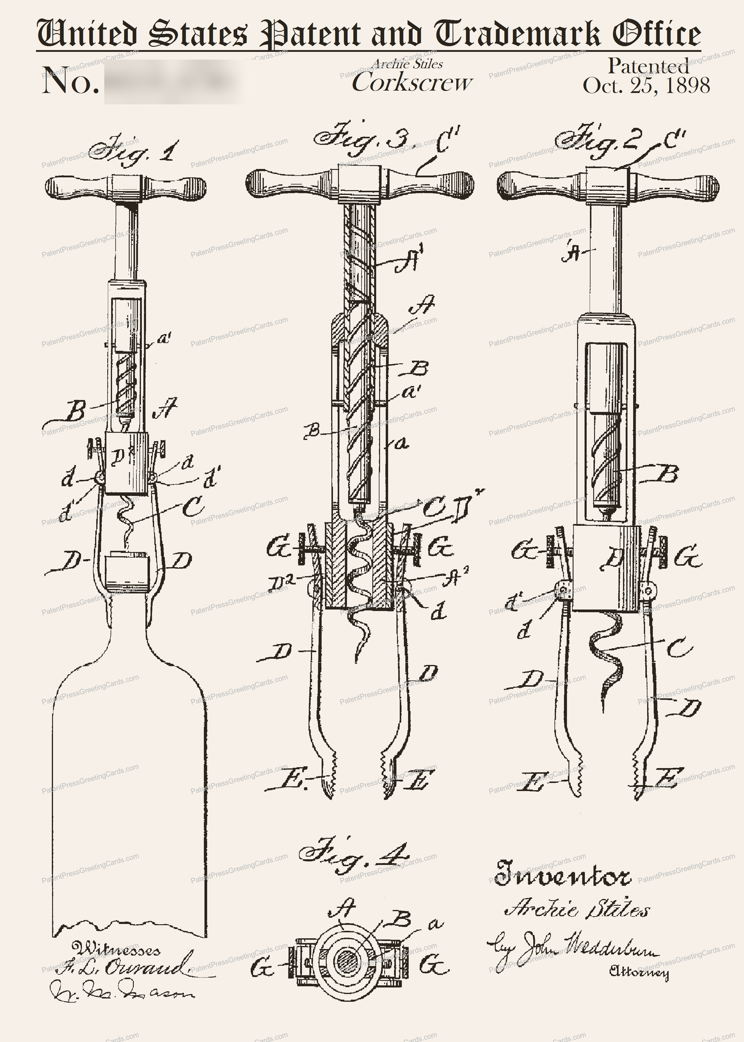 CARD-035: Corkscrew (1898) - Patent Press™