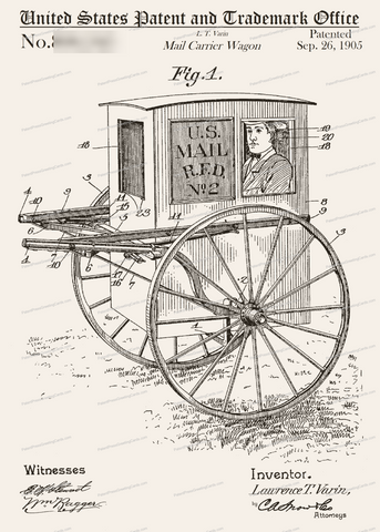 CARD-050: Mail Carrier Wagon - Patent Press™
