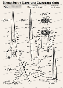 CARD-051: Barber Scissors - Patent Press™