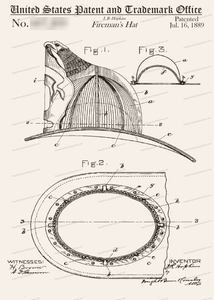CARD-053: Fireman's Helment - Patent Press™