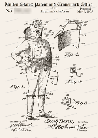 CARD-055: Fireman's Uniform - Patent Press™
