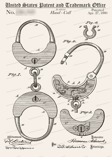 CARD-070: Handcuffs - Patent Press™