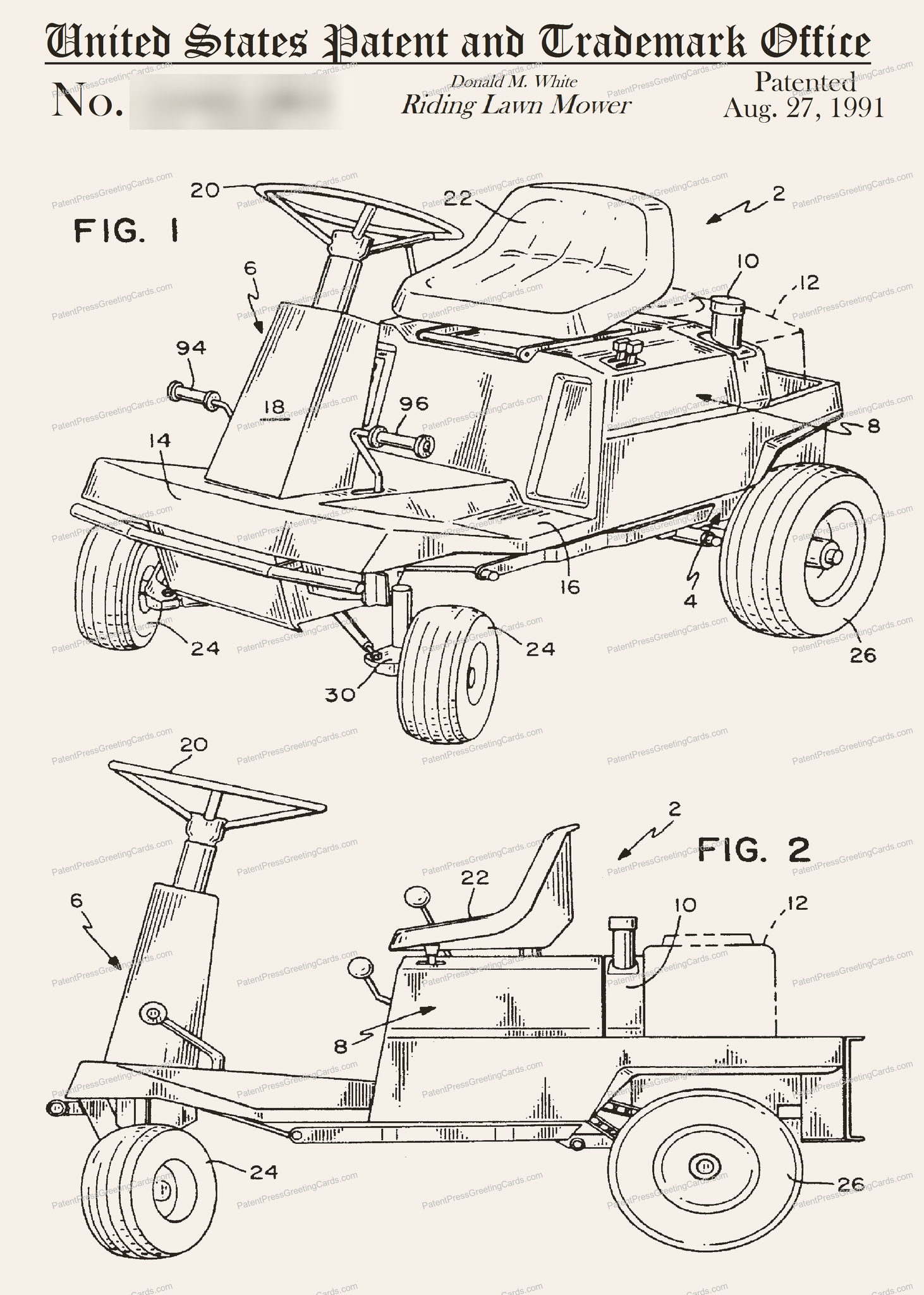 CARD-179: Riding Lawnmower - Patent Press™